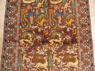 Hunting rug with mythical creatures. Origin: Southeast Europe, circa 1900. Size: ca.205x120cm / 6'7''ft x 4ft