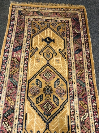 Antique camel ground Persian Sarab runner, age: 19th century. Very decorative, good condition, size: 430x118cm / 14'1''ft by 3'9''ft