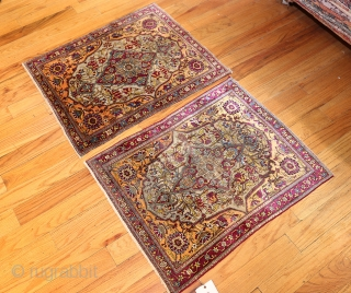 "Pair of Antique Persian Mohtashem Kashan Rug 47047 - 47048, Size: 2' x 2'8"", Origin: Persia, Circa: Last Quarter of the 19th Century - These marvelous antique Persian Mohtashem Kashan rug  feature robust colors,  ..."