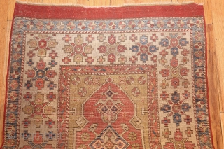 """AntiqueBergama Rug 44443, Size; 3' x 4'6"""", Origin: Turkey, Circa: 18th Century - Here is an exciting and dynamic antique Oriental rug - an antique Bergama rug that was woven in Turkey  ..."""
