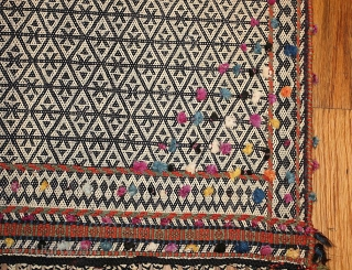 """Rare Antique Persian Qashqai Horse Cover 47879, Size: 5' x 5'7"""", Origin: Persia, Circa: Turn of the 20th Century - Here is a remarkable, impeccably woven antique rug - in fact, an  ..."""