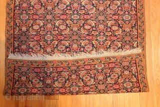 Small and Finely Woven Fish Design Antique Persian Senneh Kilim Rug 48802, Size: 3' x 4', Country of Origin: Persia, Circa Date: 1900 -An exceptionally vibrant herati fishpattern spills over the body  ...