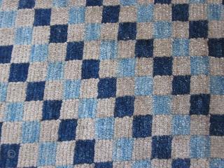 Tibetan : Checkerboad mat, fragment. silky wool c.1910