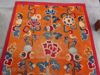 Tibetan ?doorway/?decorative rug for High Lama's room, ?Potala Palace Reduced at bottom, about 4 by 6 ft, c.1930, moth tracks