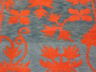 """Tibetan khaden, striking design with red-orange floral elements on abrashed blue-green ground,tightly woven with great wool 2'10"""" by 5'6"""", c.1920-30"""