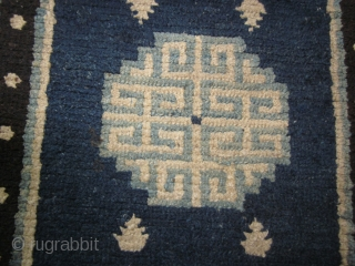 Tibetan Khaden- pre-1900, 27 by 54 inches, classic design in shades of indigo. some re-weaves