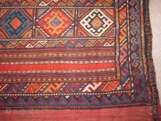 """Kurdish cargo bag, sumak construction,2'4"""" by 3'8"""", 20th C. Many other ME cargo bags in stock, pl ask for shots"""