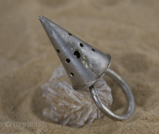 Old Berber pure silver, hand made,  conic ring from Morocco, Anti-Atlas region.  size: ring diameter: 2,0 cm   conic height: 3,0 cm  weight gr. 50