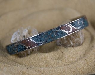 4 old Berber pure silver and enamel mosaic, hand made,  bracelets from South Morocco, Taroudant  size:  diameter: 6,5 cm    height: 1,0 cm