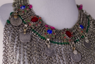 Original traditional Pashtun bronze and silvered metal necklace with 1980 coins. From Afghanistan.