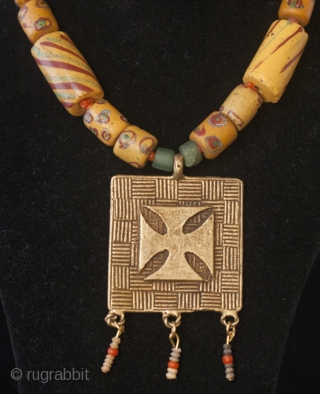 Adinkra lost wax bronze amulet from Ghana, old Venice glass beads, coral and little terrecuit beads from Mali necklace  Price is including recorded mail international shipping Paypal accepted