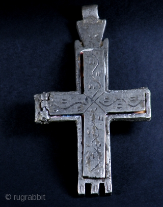 OLD COPTIC CROSS WITH ICON INSIDE  Old big silver metal Coptic cross amulet with painted icon inside. From Ethiopia  SIZE: 13 cm x 7 cm