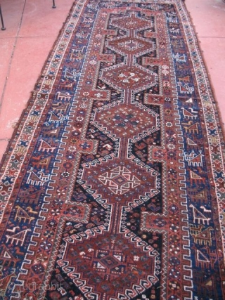"""Khamseh Runner - 116"""" x 40"""" Excellent condition. Very good pile. No stains, fading, damage or repairs. Original sides and ends all intact. Solid, natural color."""