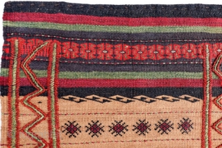 A kilim woven in the Sistan region by Serkhat Beluch weavers. For the lenghtwise borders a different technique has been chosen adding volume to the kilim. All natural dyes. 79x42cms. 1900s. (K1710061).  ...