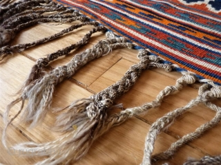 kilim from the beggining of the 20th century in mint condition, including the fringe area. All dyes are natural and for the background of the central field, a terracotta hue has  ...