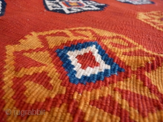 A great Qashqai kilim woven with very finelly spun wool, creating thus a kilim of great appeal. The design is very well done and with attention to small details. All natural dyes.  ...