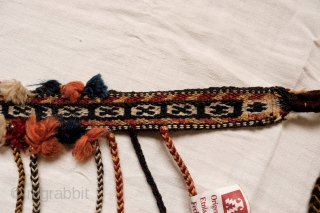 Horse band from Qashqai nomads from S.W. Iran in original condition. All natural dyes. Sourced during our travells in Iran. (AT974), 93x4cms (excluding tassels). Please email us for more information or buy  ...