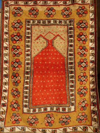 Manastir pelt like prayer rug probably from Macedonia, not from Turkey, 19th or early 20th century. All good colours, woven with the typical Macedonian wool which gives a textured look. Good condition,  ...
