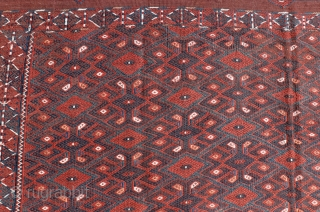 The Yomut kilims are traditionally handwoven by the Yomut or Yomud, one of the major tribes of Turkmenistan and to a lesser degree Northern Afghanistan. This kilim is from Turkmenistan, with a  ...