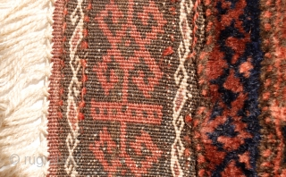 The tightest woven Baluch Balisht we have had. Finished with two kilim ends, one of which was cut and then woven back to the main piece. All good colours, soft shinny wool  ...