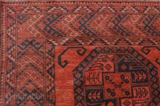 Fantastic Aqcha Suleiman rug from Northern Afghanistan woven by Turkoman ethnic weavers. The size is unusual as it is very square, the wool soft and silky, densely woven with a thick full  ...