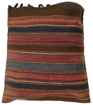 A large sack woven by Aimaq Beluch women from Afghanistan, very finely woven. The dyes are natural and include a nice turquoise blue. The back has a nice colour scheme too. 75  ...