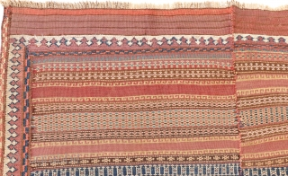 This kilim from the Beluch tribe of Afghanistan is woven from finely spun wool with natural dyes. The color palette is restricted and sober, as the kilims of this tribe are usually  ...