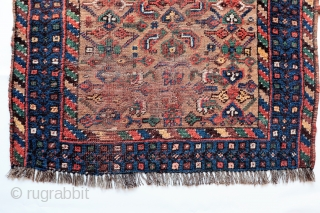 A rare prayer Shia rug from Southern Iran, possibly woven by tribes of Arab origen. Traditionally, Shias didn´t design specific rugs for praying, but they pray touching with the headfront a  ...
