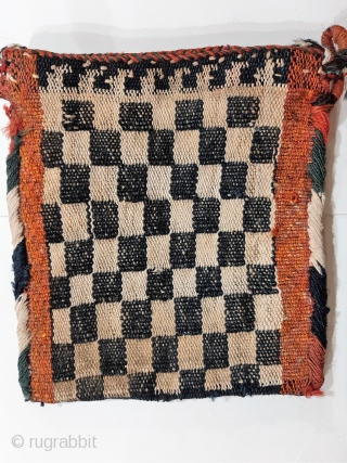 Qashqai nomads, maybe Darreshuri, warp faced chanteh or womans small shoulder bag, mid 20th c. small size 22x20cms, original side binding, blue, green and orange dyed wool with white cotton, back can  ...