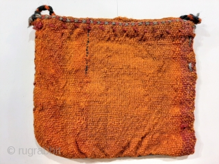 Small Qashqai nomad womans shoulder bag or chanteh, 22x20cm, balanced plainweave with embroidered and tufted details, excellent original condition, braided woollen strap is a later addition.
