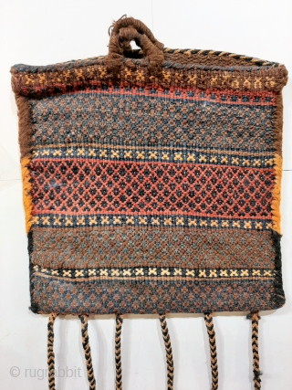 Qashqai womans shoulder bag or chanteh, floating weft tecnique, nice colours, original excellent condition with original tassles and side-binding, 30x30cm