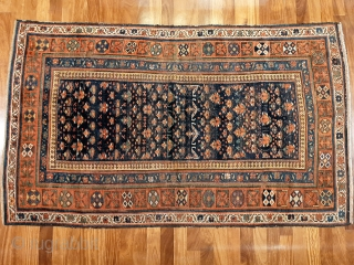 Restoration project! Attractive Kordi rug from 2nd half 19th c. Great design and colours, missing knots and missing side binding, one area of old repair (see photo) but otherwise original and intact.