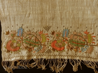 Ottoman embroidered towel (Yaglik) cod. 0779. Silk embroidery on cotton. Late 19th. century. Very good condition with some stains. Dimension cm. 160 x 48 (63 x 19 inches).  In the Turkish world,  ...