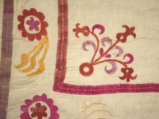 "Suzani cod. 0264. Silk embroidery on cotton. First half 20th. century. Perfect condition. Dimension cm. 204 x 270 (80"" x 106""). Sewn onto a cotton textile."