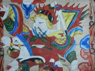 """Shaman' s painting cod. 0437. Pigments on rice paper. Yao people. Guanxi or Hunnan area. China. Late 19th. century. Very good condition. Cm. 48 x 130 (1'7"""" x 4'3"""")."""