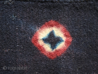 """Tigma monastery runner  """"Nambu"""" fragment. Tied-dyed wool plain weave. Tibet. Circa 1850 or earlier. Good condition with some holes, patches, rewoven. Cm. 84 x 140 (33"""" x 55"""")."""