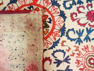 "Kirghiz Oyna Alta cod. 0302. Silk embroidery on cotton. Early 20th. century. Dimension cm. 82 x 91 (32"" x 36"")."