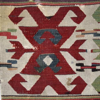 """Kilim fragment cod. 0635. Wool. Eastern Anatolia. First half 19th. Century. Very good condition Cm. 86 x 180 (2'10"""" x 5'11""""). Mounted on white linen.  The star (olduz) is one of the  ..."""