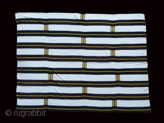 Ewe woman' s cloth cod. 0744. Imported industrial cotton. Ghana. Late 19th. century.Excellent condition. Measurement:197cm x 146cm (77 x 57 inches).  Minimal nineteenth century Ewe women's cloth that may be compared to  ...
