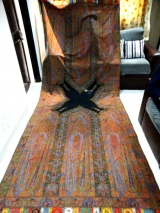 BEAUTIFUL KASHMIR LONG SHAWL FROM INDIA PERTECT CONDITION C 1840-1870   SIZE 340*136 CM