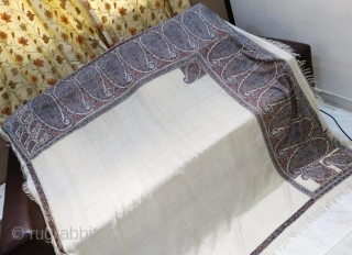 Rare hand embroidered White Indian shawl 19th century Perfect condition   Size  70*68 inches