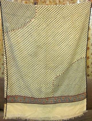 Indian Kani Jamawar Ladies shawl having 2-3 tiny holes.Early period around 18th century. Size 30*82 inches.