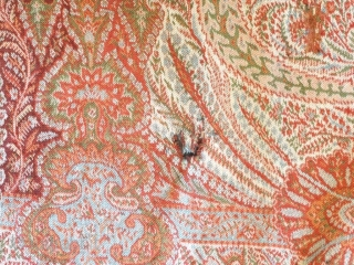 a beautiful Indian Paisley Long shawl in perfect condition with some little holes.Colors are perfect. Size 160.Inches Length 66.Inches Width
