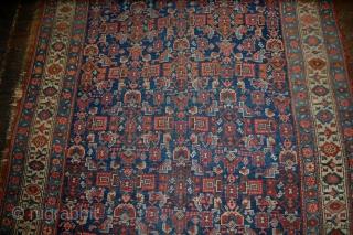 Handmade antique Persian Bidjar rug 4.10' x 7.5' (151cm x 228cm) 1880s - 1B531