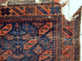 Handmade antique collectible Afghan Baluch bagface 2.4' x 2.6' ( 74cm x 79cm) 1880s - 1C446
