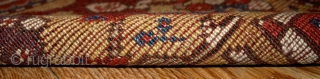 "#1B171 Turkish Prayer ""Melas"" rug 3.10' x 5.5' 1860, in original good condition: has some old restoration"