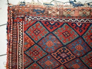 Handmade antique collectible Persian Kurdish bag 1.8' x 2.4' (56cm x 73cm) 1880s - 1C451