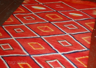 Handmade antique collectible Native American Navajo blanket 4.7' x 7.7' (143cm x 234cm) 1870s - 1B557
