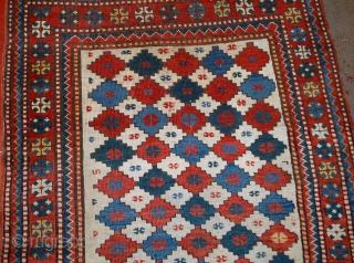 Handmade antique Caucasian Kazak rug 3.7' x 6' (113cm x 183cm) 1890s - 1B562