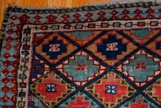 Handmade antique collectible Persian Jaf Kurdish bag face 1.4' x 1.6' (43cm x 49cm) 1880s - 1B565